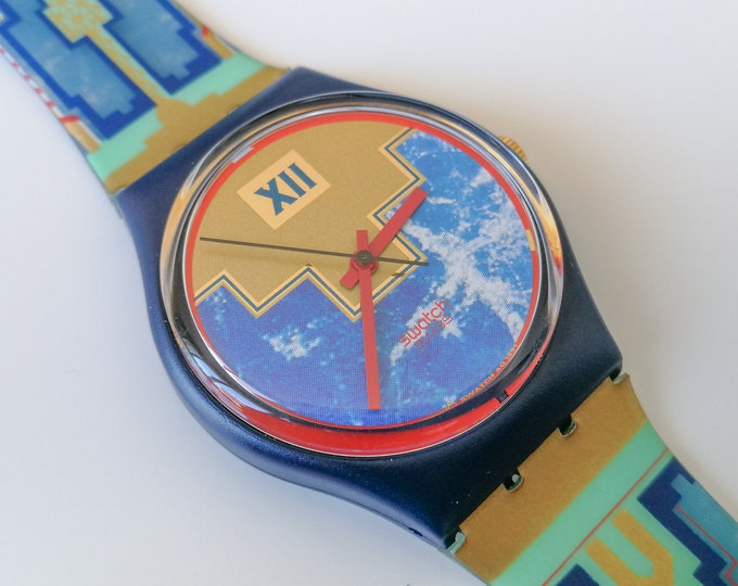 Swatch GN114 Blue Flamingo - NOS - 1991 - With box