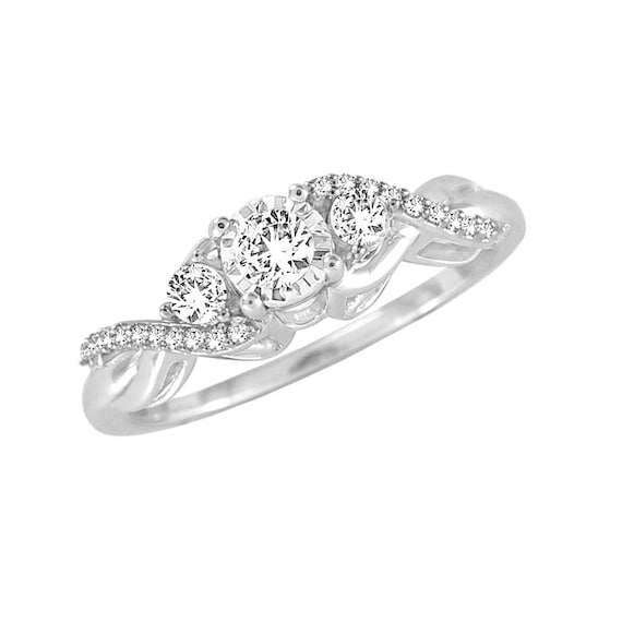 1//10 cttw, 3 Diamond Promise Ring in 10K Yellow Gold G-H,I2-I3 Size-5.75