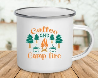Camp Fire And Coffee / Enamel Camping Mug / Gift For Camper / Camper Mug / Outdoor Lover Gift / Funny Camping Mug / Camping Lover Gift