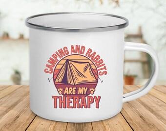 Camping And Rabbits / Enamel Camping Mug / Gift For Camper / Rabbit Lover Camper / Outdoor Lover Gift / Funny Camping Mug / Camping Lover