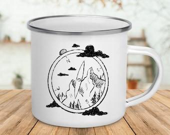 Mountain Compass / Enamel Hiking Mug / Mountain Climber / Gift For Hiker / Camping Mug / Camper Gift / Mountain Climbing / Nature Lover Mug