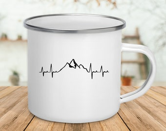 Mountain Heartbeat / Enamel Hiking Mug / Gift For Hiker / Camping Mug / Camper Gift / Hiker Mug / Mountain Climber Gift / Nature Lover Mug