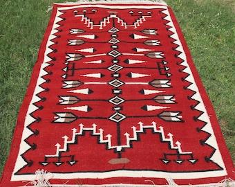 Vintage Turkish Red Kilim Rug Antique Primitive Handwoven Nomad Kilim 3.3x4.5ft 100x106cm ac008 Tribal Kilim Rug