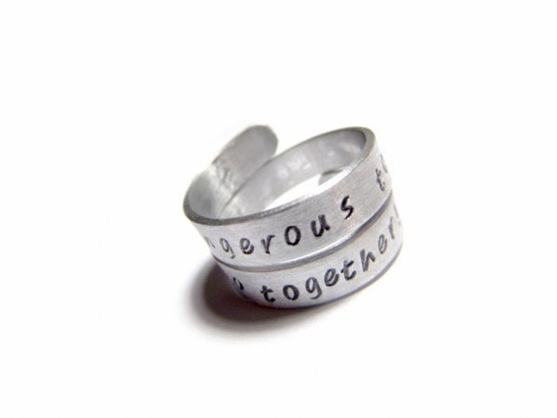 Personalized Wrap Ring Personalized Wrap Custom Adjustable Aluminum Ring Easter Gift Ring Hand Stamped Twist Ring Personalized ring