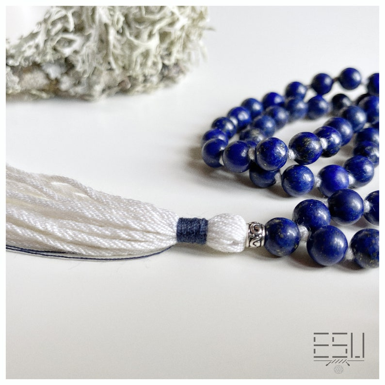108 Mala Prayer 6 mm Beads Yoga Gift for Her Blue Handmade Mala INTUITION Mala Necklace with Lapis Lazuli Tassel Necklace