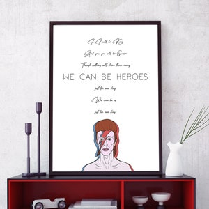David Bowie Heroes Print We Can Be Heroes Song Lyrics Wall Etsy