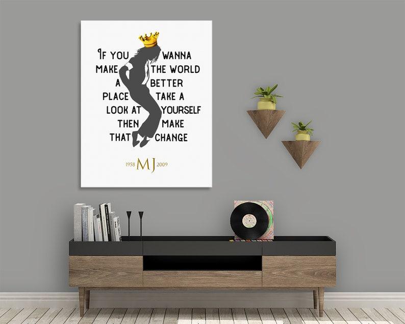 Michael Jackson PRINTABLE Poster - MJ King of Pop DIGITAL Download Print -  Song Lyrics Wall Art - Man in the Mirror Lyric Art