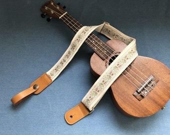 Handmade embroidered floral ukulele strap fits for all size ukulele