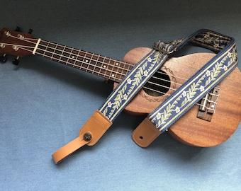 Handmade vintage floral ukulele straps fits for all size ukulele and kids guitar