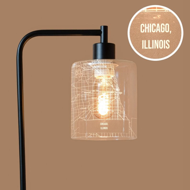 Map Lamp  Chicago IL Etched In Glass Lampshade Industrial image 0