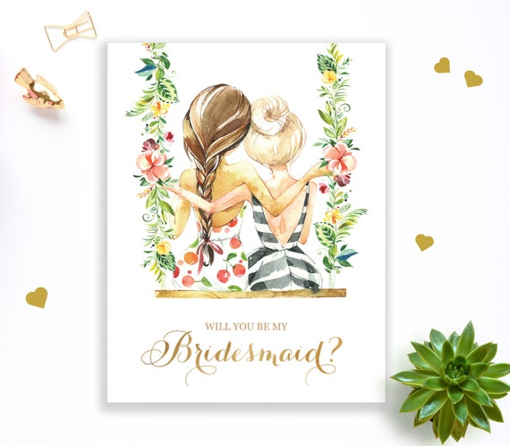 picture regarding Printable Will You Be My Bridesmaid named Bridesmaid Proposal Card Instance, Printable Will Oneself Be My Bridesmaid Card, Tropical Bridesmaid Card, Tropical Marriage ceremony Proposal Card