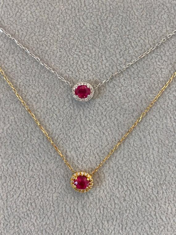 1.50CT Ruby Round Shape Halo Basket Setting Pendant /& Necklace 14K White Gold