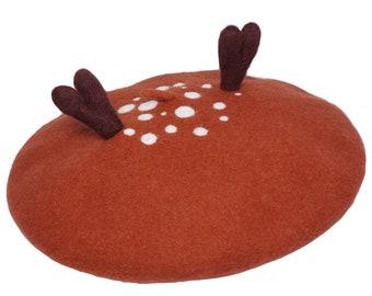 39685eb867554 Handmade Deer Antler Beret Kawaii Women Wool Felt Hat Lolita Forest Animal  Cosplay Cap