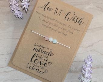 IVF Wish Bracelet - Rose Quartz, Moonstone, Aquamarine, Silver - Fertility Crystals - Healing Crystals - Gemstone Bracelet - IVF Crystals
