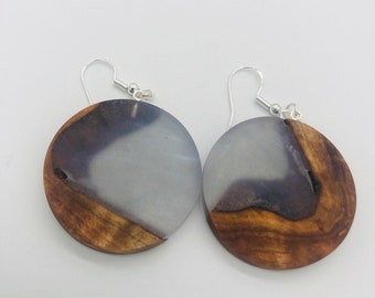 Earrings Maple Burl with Clear Resin Infused with Colors of The AB Sterling Silver Findings Aurora Borealis Collection Ultralight Weight