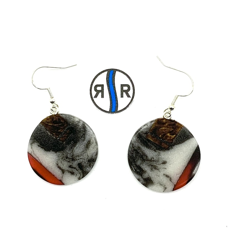 Translucent Red and White Frosted Resin Black Walnut Wood with Black Onyx Ultra Light Weight 925 Sterling