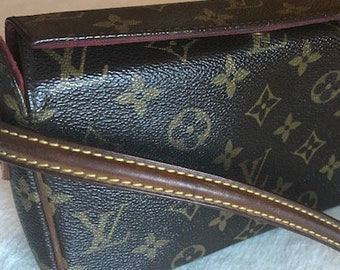 c546bddc24ab Authentic Louis Vuitton LV Vintage Brown Monogram Recital Shoulder Bag  Brown Canvas Shoulder Bag Luxury Purse