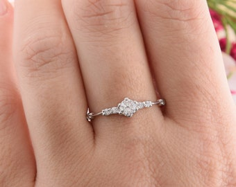 Wedding Promise Ring One Stone Silver Ring Promise Tiny Ring Round Stone Band 925 Silver Band Classic Proposal Silver Ring