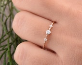 Promise ring for her, Multistone ring, Engagement ring, Anniversary ring, Women ring gold, 3 stone ring, 14k gold cz ring, Tiny ring gold