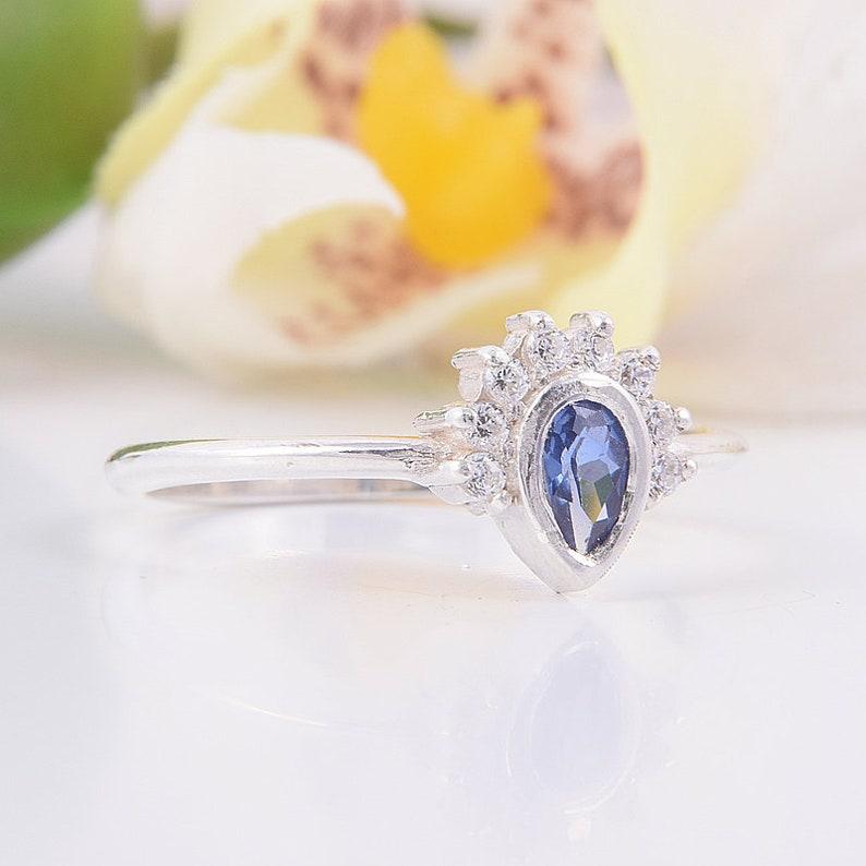 Engagement ring Birthstone ring Blue sapphire ring Custom stone ring Antique ring Sapphire ring Pear cut ring Gemstone ring