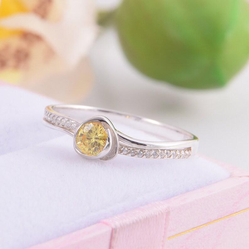 Women promise ring November birthstone Promise ring Citrine ring Silver women ring Engagement ring Anniversary ring Art deco ring