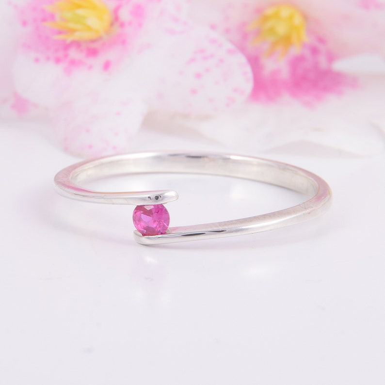 Womens Silver Ruby Ring Dainty Ruby Ring Simple Minimalist Ruby Ring Ruby Jewelry,July Birthstone Womens Promise Ring Ruby Promise Ring