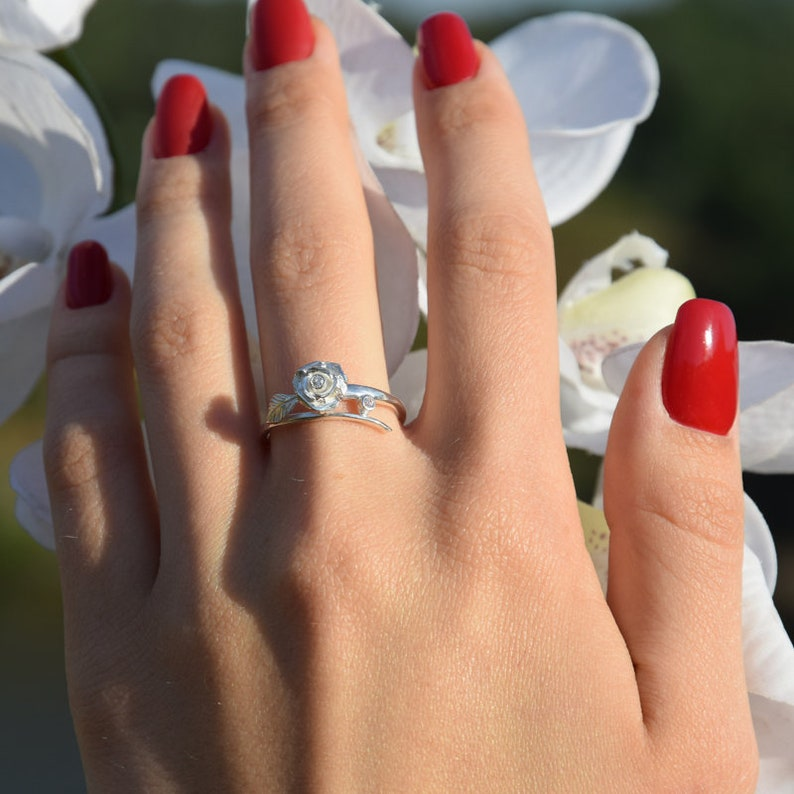 Promise ring Gift for her ring Rose ring Women promise ring Promise ring for her Flower ring Elegant ring Custom stone ring