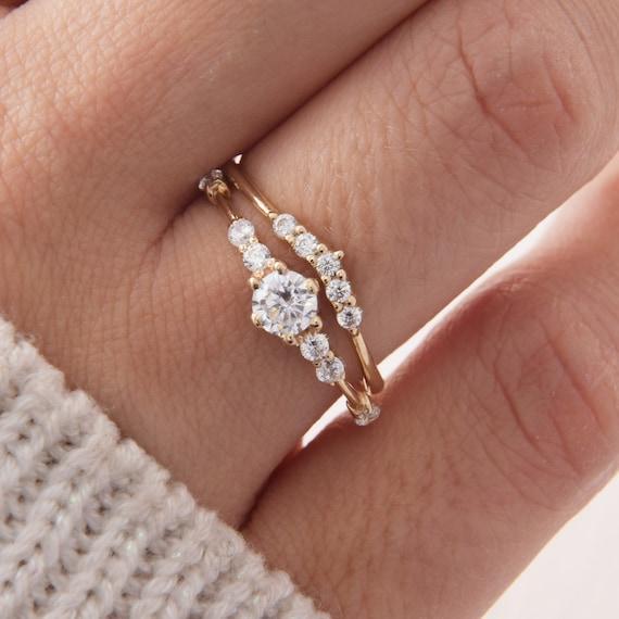 Unique Wedding Rings Set Gold Wedding Rings Set Dainty Etsy