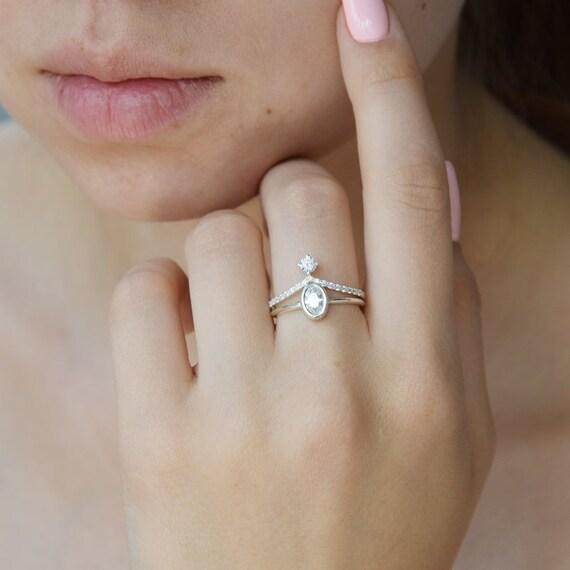Womens Wedding Rings Set Silver Wedding Rings Set Dainty Etsy