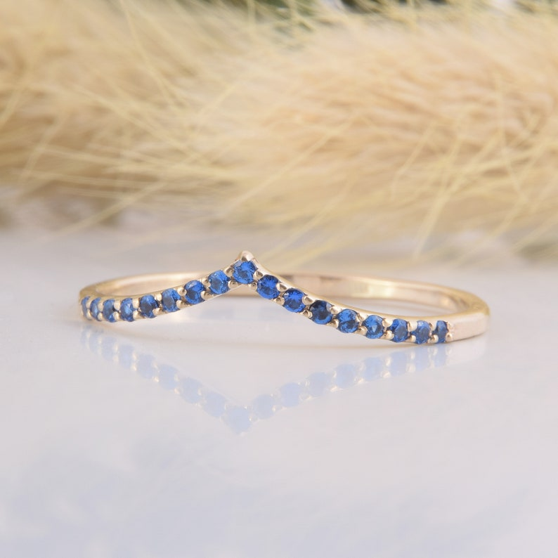 Unique small /& dainty V shaped curved sapphire wedding band Delicate minimalist 14k yellow gold blue sapphire womens chevron wedding band