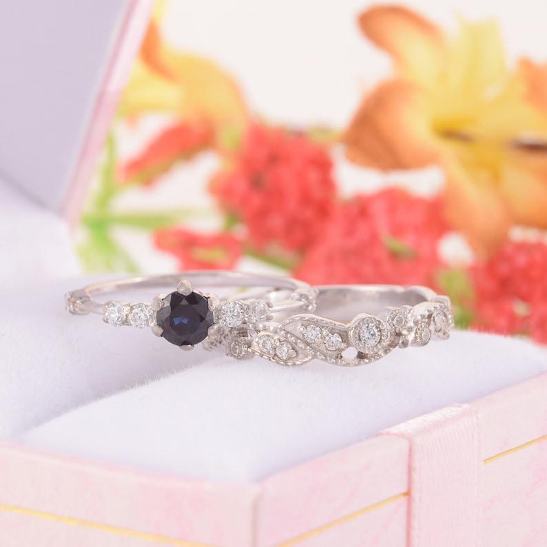 Wedding rings set Women rings set Tiny rings set Black stone ring Black cz rings Elegant rings Promise rings set Silver rings set