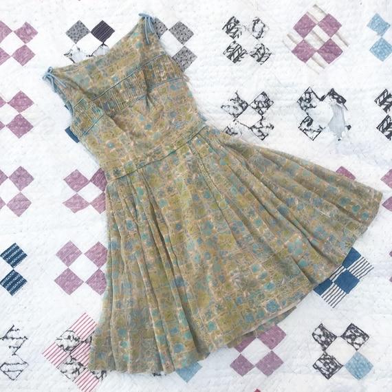 Vintage 1950's Cotton Tiki Print Dress- Summer- M