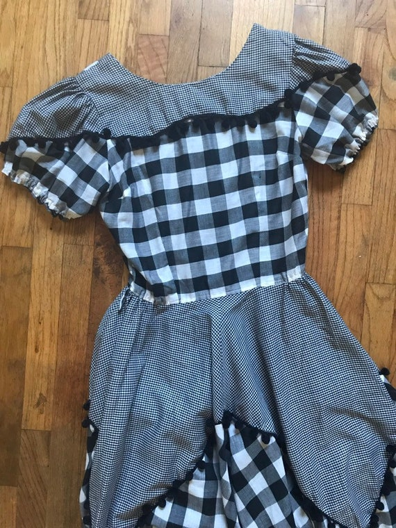 Vintage 1960's Black and White Gingham Western Dre