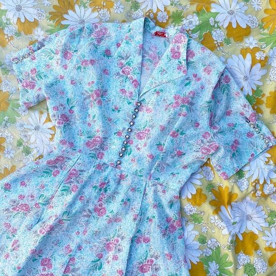 Vintage 1950's Rose Print Mode O Day Dress- Large