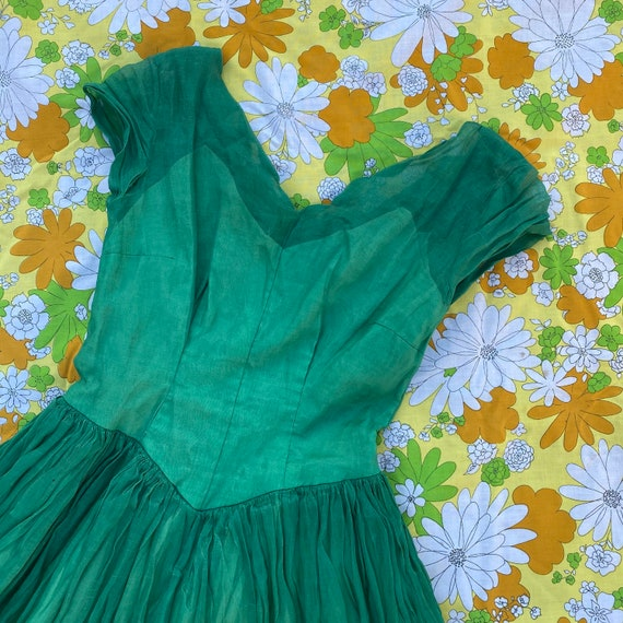 Vintage 1940s Green Chiffon Gown- Small
