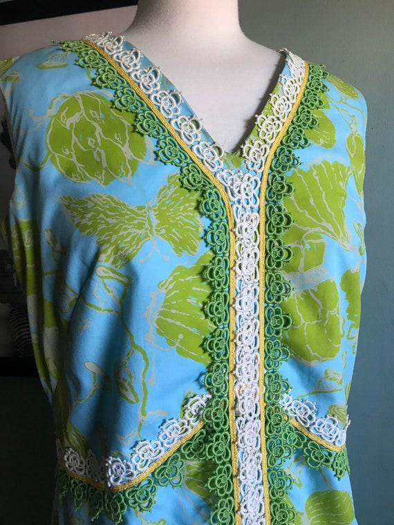 60/'s Hawaiian Kaftan Shifts Internationale Miami Floor Length Mandarin Collar Fully Lined Expertly Tailored Vintage Couture