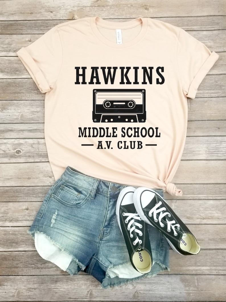 Stranger Things In the Woods Unisex Hoodie Sweatshirt Stuck in the Upside Down Mens Womens Tee Stranger Things Tshirt Hawkins Middle School