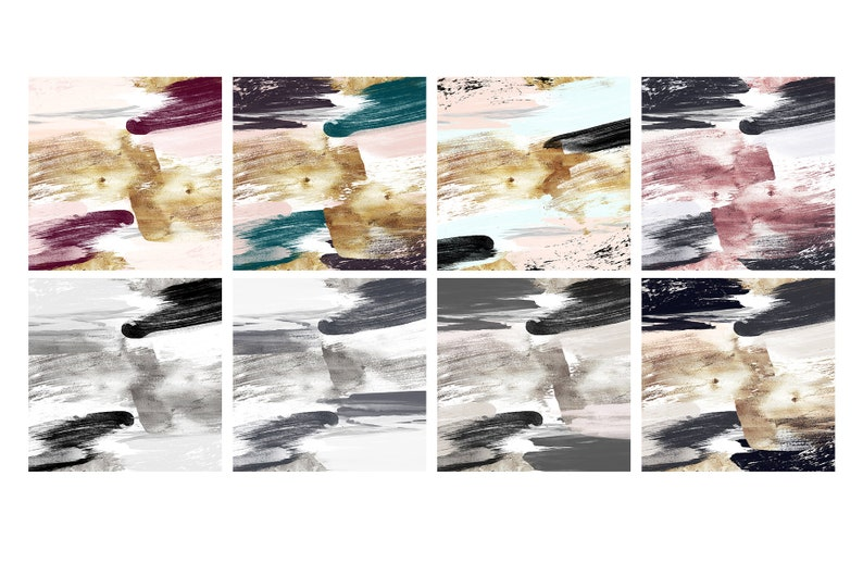 Abstract Watercolor Paint Brush Strokes Multi Colored Digital Paper Textures Paint Strokes Background Blush Navy Colorful Plum Gold Foil