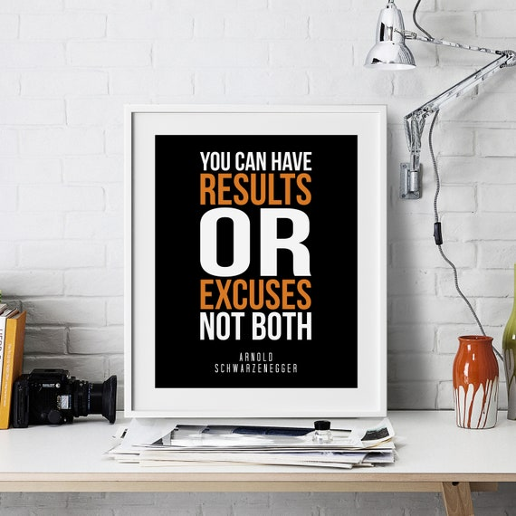 Arnold Schwarzenegger Inspirational Wall Art Motivational Quote Art Print Poster Encouragement Gift Home Gym Typography Room Office Decor