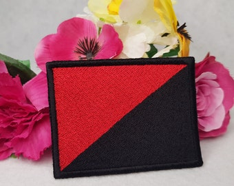 Anarchist (Anarcho-Syndicalism) flag embroidered patch. Iron On, Velcro or Sew On options!