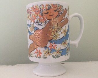 Vintage whimsical goldengirl pedestal mug collectible made in Japan