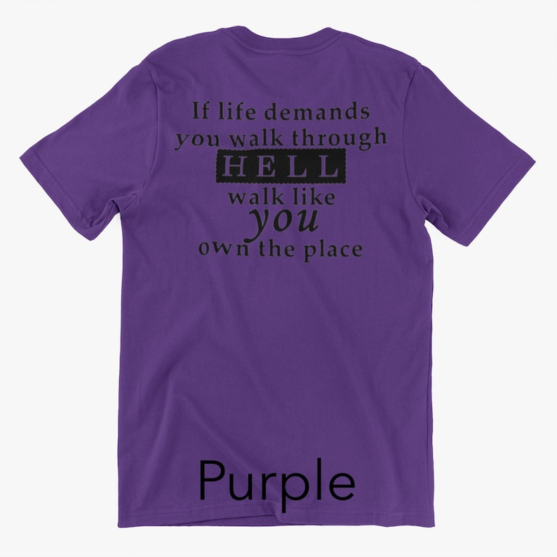 Gift For Him Her Them Southern Saying Unisex Graphic Tee If Life Demands You Walk Through Hell Walk Like You Own the Place