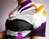 90s Vintage abstract print t-shirt with zipper on collar, Vintage women clothing, 70 39 s, 80 39 s, 90 39 s, Y2K