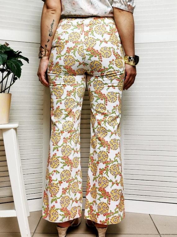 Vintage 70s floral print flare women pants - image 6