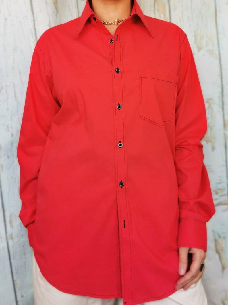 Vintage 90s minimalist red menswear oversize unisex shirt