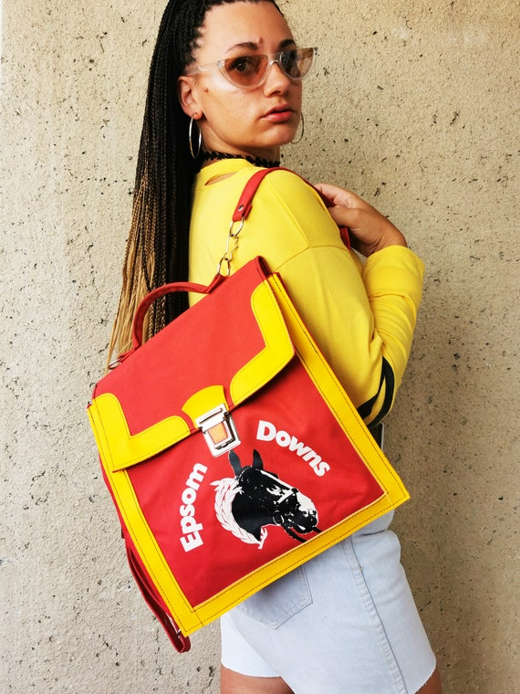 Vintage  70's horse print red fabric tote backpack