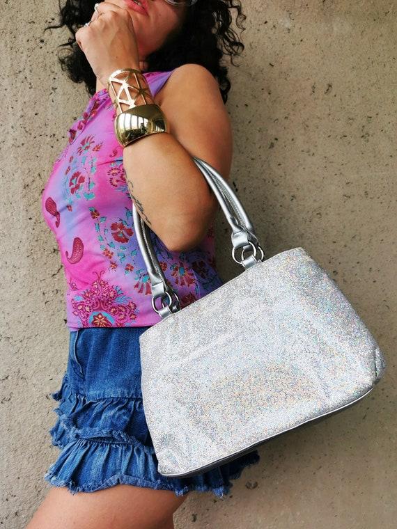 Vintage Y2K silver shinny sequin Kitsch shoulder b