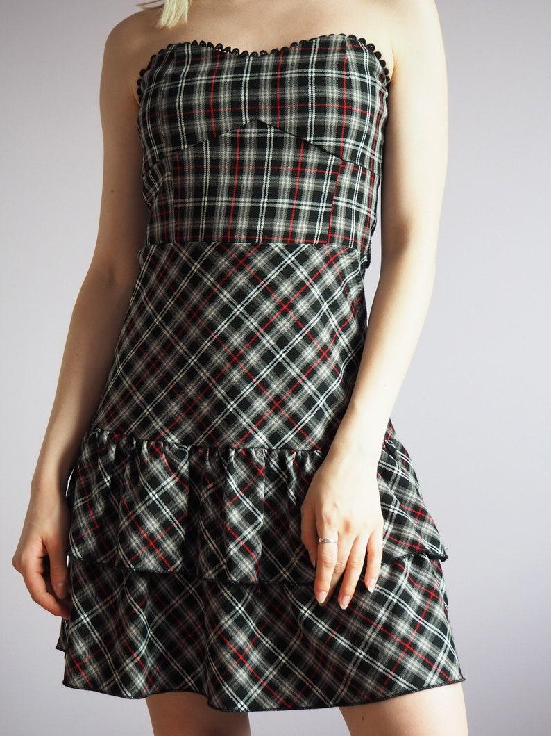 Y2K vinatge tartan plaid off shoulder ruffle party dress 70/'s 80/'s 90/'s Y2K Vintage women clothing