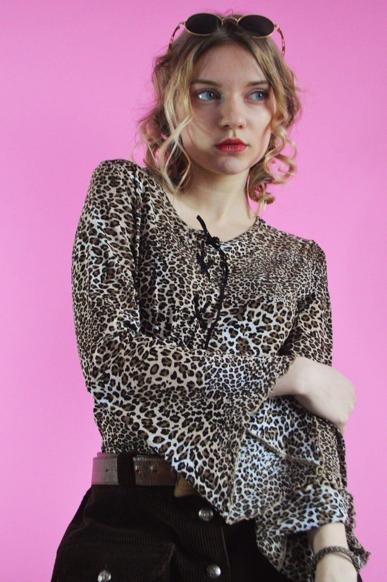 d454c4f90d0ad 90's top, Vintage animal leopard print lace up mesh party top, Size S UK  10-12, Vintage woman clothing