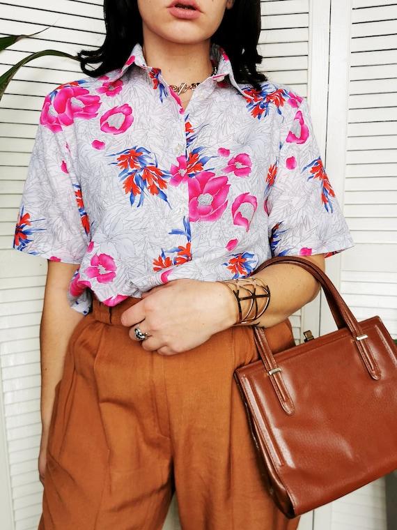 90s Vintage Floral Print Viscose Oversized Shirt Blouse 1522